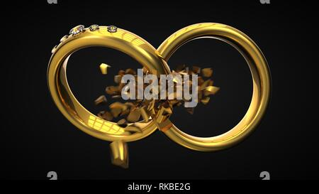 divorce concept with expoling wedding rings. with motion blur suitable for divorce, breakup and relationship themes. 3d illustration - Stock Photo
