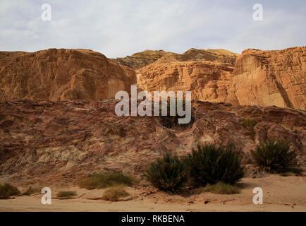 Desert cliffs near Egypt's Coloured Canyon outside the Sinai town of Nuweiba, Egypt. (Photo/Hasan Jamali) - Stock Photo