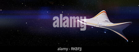 futuristic spaceship in empty space, stratosphere aircraft concept - Stock Photo
