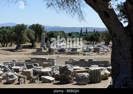 Hellenistic Temple of Dionysus, designed in 220-205 BCE by the architect Hermogenes of Priene, Ancient Greek city of Teos, Sigacik, Turkey. The Temple - Stock Photo