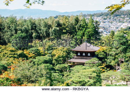 Ginkaku-ji temple, Silver pavilion in Kyoto, Japan - Stock Photo