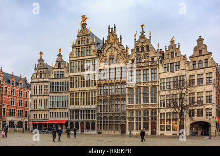 Cityscape with traditional gothic medieval guildhouses on Grote Markt square, Great Market square in old town Antwerp, Belgium - Stock Photo