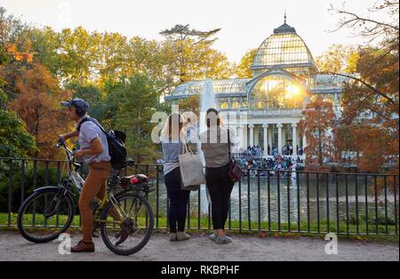 Palacio de Cristal, Parque del Retiro, Madrid, Spain, Europe - Stock Photo