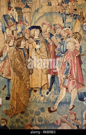 Le Siège de Dijon en 1513, Tapestry, Fine Arts Museum, Musée des Beaux-Arts, Dijon, Côte d´Or, Burgundy Region, Bourgogne, France, Europe - Stock Photo