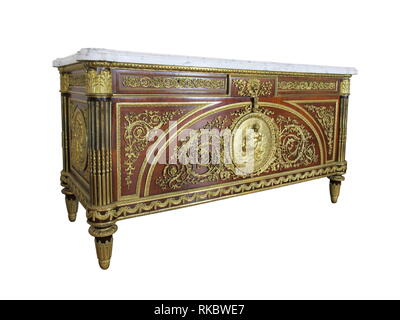 A Fine Louis XVI Style Gilt-Bronze Mounted Commode, After An Eighteenth Century Model By Benneman. - Stock Photo