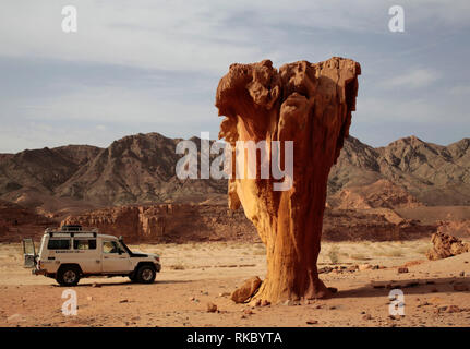 A tour guide's vehicle parks by a rock formation known as 'the mushroom' in Egypt's Coloured Canyon in the Sinai Peninsula.  (Photo/Hasan Jamali) - Stock Photo