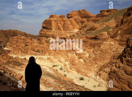 Rock formations in Egypt's Coloured Canyon, located near the Sinai town of Nuweiba, Egypt. Photo taken Jan. 24, 2019. (Photo/Hasan Jamali) - Stock Photo