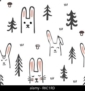 Seamless pattern with sweet bunnies and trees. Cartoon forest. Childish texture. Vector Illustration. - Stock Photo