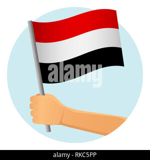 Yemen flag in hand. Patriotic background. National flag of Yemen  illustration - Stock Photo