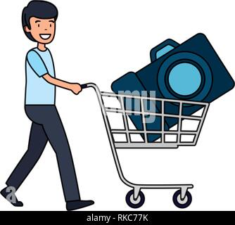 man with photographic camera in shopping cart vector illustration design - Stock Photo