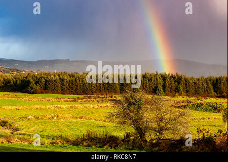 Ballydehob, West Cork, Ireland. 10th Feb, 2019.  A rainbow appears over Ballydehob after a very cold, mixed day of sunshine and wintry showers.  Next week will become milder. Credit: Andy Gibson/Alamy Live News. - Stock Photo