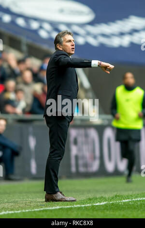 London, UK. 10th Feb 2019. Claude Puel manager of Leicester City during the Premier League match between Tottenham Hotspur and Leicester City at Wembley Stadium, London, England on 10 February 2019. Photo by Salvio Calabrese.  Editorial use only, license required for commercial use. No use in betting, games or a single club/league/player publications. Credit: UK Sports Pics Ltd/Alamy Live News - Stock Photo