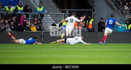 Twickenham, United Kingdom. 7th February, Jonny MAY with the first try of the game in the South West corner. England vs France, 2019 Guinness Six Nations Rugby Match   played at  the  RFU Stadium, Twickenham, England,  © PeterSPURRIER: Intersport Images Credit: Peter SPURRIER/Alamy Live News - Stock Photo