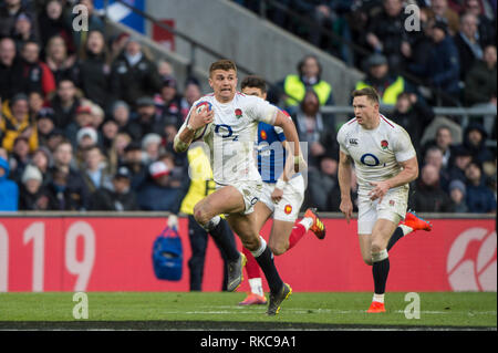 Twickenham, United Kingdom. 7th February, Henry SLADE running withe ball during, England vs France, 2019 Guinness Six Nations Rugby Match   played at  the  RFU Stadium, Twickenham, England,  © PeterSPURRIER: Intersport Images Credit: Peter SPURRIER/Alamy Live News - Stock Photo