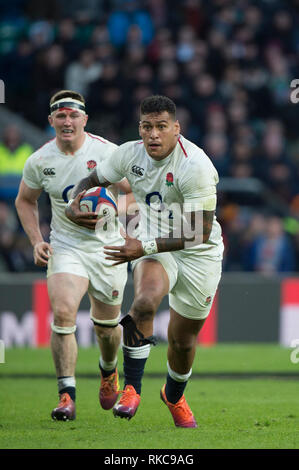 Twickenham, United Kingdom. 7th February, Nathan HUGHES, England vs France, 2019 Guinness Six Nations Rugby Match played at  the  RFU Stadium, Twickenham, England,  Credit: Peter SPURRIER/Alamy Live News - Stock Photo
