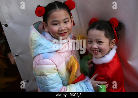 Manchester, UK. 10th Feb 2019. Thousands celebrate Chinese New Year in the city with Dragons, Lion dancing and giant inflatables in the year of the Pig, Manchester, UK, 10th February 2019 Credit: Barbara Cook/Alamy Live News - Stock Photo