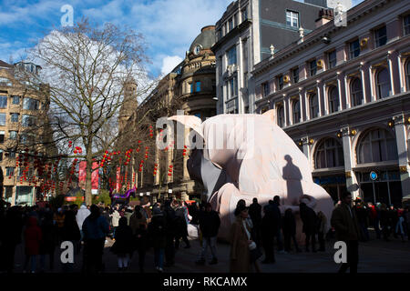 Manchester, UK. 10th Feb, 2019. Manchester is home to Europe's third largest Chinatown. As part of the Chinese Year of the Pig Celebrations the city is hosting a giant Pig in St Anne's Square. Credit: Dominic Harrison/Alamy Live News. - Stock Photo