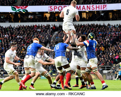 London, UK. 10th Feb 2019. Guinness Six Nations International Rugby England Vs France at RFU Twickenham Stadium UK Action during the match which was won by England 44-8 Credit: Leo Mason DANCE Photos/Alamy Live News - Stock Photo