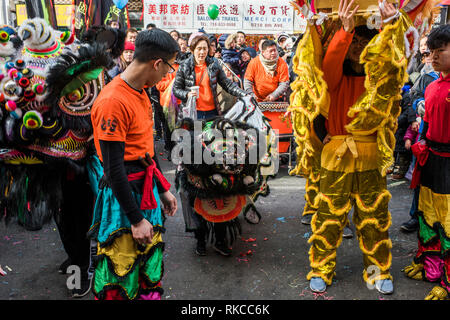 New York City, USA -February 10, 2019: Celebrating Chinese New Year, The Year of the Pig, Chinatown, Sunset Park, Brooklyn. Credit: Valery Rizzo/Alamy Live News - Stock Photo