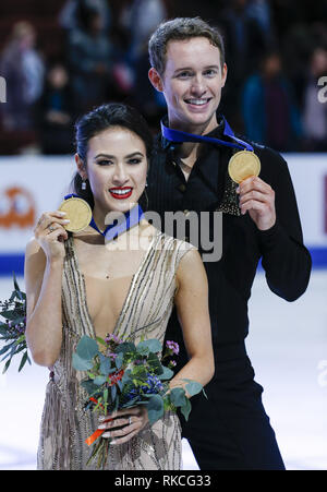 Los Angeles, California, USA. 10th Feb, 2019. Ice dance competition winners gold medalists, Madison Chock and Evan Bates, of the United States, pose at the ISU Four Continents Figure Skating Championship at the Honda Center in Anaheim, California on February 10, 2019. Credit: Ringo Chiu/ZUMA Wire/Alamy Live News - Stock Photo
