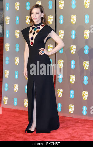 London, UK. 10th Feb, 2019. Cate Blanchett poses on the red carpet at the British Academy Film Awards on Sunday 10 February 2019 at Royal Albert Hall, London.  Credit: Julie Edwards/Alamy Live News - Stock Photo