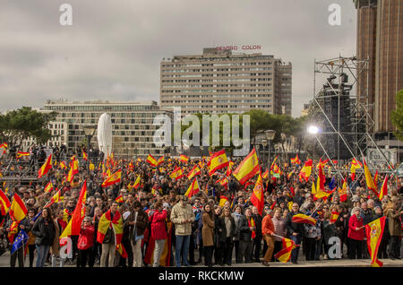 Protesters are seen holding flags during the demonstration. Thousands of Spanish citizens protested at Colon Square in Madrid against the government of Pedro Sánchez, asking for an election. - Stock Photo