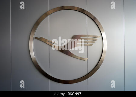 FRANKFURT, GERMANY - MARCH 13, 2016: close up shot of Lufthansa logo. Deutsche Lufthansa AG, commonly known as Lufthansa is a major German airline. - Stock Photo