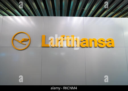 FRANKFURT, GERMANY - APRIL 07, 2016: close up shot of Lufthansa logo. Deutsche Lufthansa AG, commonly known as Lufthansa is a major German airline. - Stock Photo