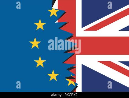 Brexit - blue torn european union EU flag and torn great britain flag England exit concept - Stock Photo