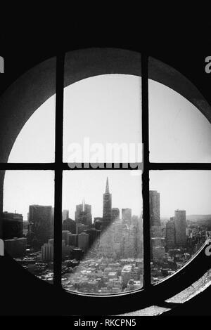 Black and White San Francisco Through Window Porthole City Landscape California - Stock Photo