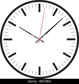 Modern simple design clock icon vector for web, graphic and mobile design with hands and second hand in red isolated on white background. - Stock Photo