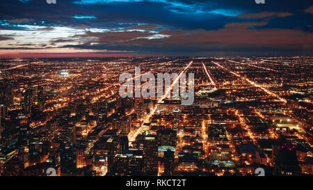 Afternoon Cityscape Chicago Illinois Architecture City Skyline Landscape Urban Center Lights Aerial - Stock Photo