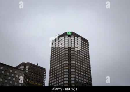 MONTREAL, CANADA - NOVEMBER 6, 2018: Desjardins Bank logo on their main office for Montreal, Quebec, in the Complexe Desjardins. Mouvement Desjardins  - Stock Photo