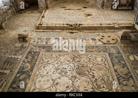mosaic Roman ruins Um Ar-Rasas Jordan - Stock Photo