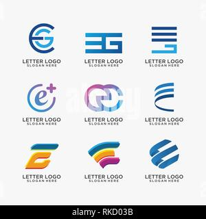 Collection of letter E logo design variations - Stock Photo