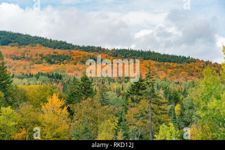 Aerial view of some rural fall color landscape at Quebec, Canada - Stock Photo