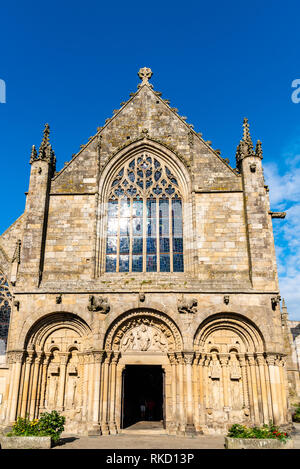 Dinan, France - July 23, 2018: Exterior view of St Sauveur Basilica against sky - Stock Photo