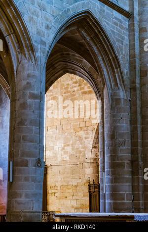 Dinan, France - July 23, 2018: Interior view of St Sauveur Basilica - Stock Photo