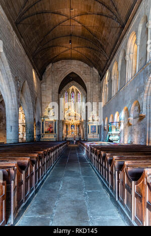 Dinan, France - July 23, 2018: Interior view of St Sauveur Basilica - Stock Photo