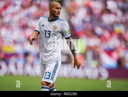 Moscow, Russia - July 1, 2018. Russia national football team defender Fedor Kudryashov during FIFA World Cup 2018 Round of 16 match Spain vs Russia. - Stock Photo