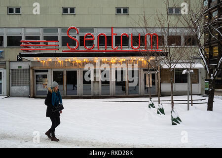Outside the old concert venue in Oslo called Sentrum Scene during winter - Stock Photo