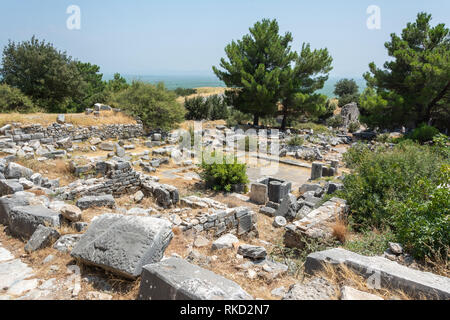 Ruins of thermal bath complex at Priene ancient city in Turkey. - Stock Photo