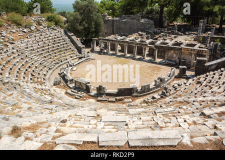 Ruined theatre of Priene ancient city in Turkey. - Stock Photo