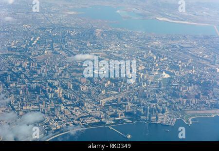 Aerial view over Baku, the capital of Azerbaijan. - Stock Photo