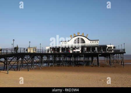 Cleethorpes Pier on Cleethorpes Beach. - Stock Photo