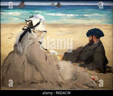'''On the Beach'', 1873, by Edouard Manet (1832-1883), oil on canvas, 60x73 cm. Musée d'Orsay. Orsay Museum. Paris. France. - Stock Photo