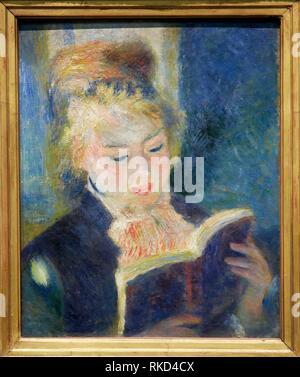 '''The reader'', 1875-1876, by Pierre-Auguste Renoir (1841-1919), oil on canvas, 47x38 cm. Musée d'Orsay. Orsay Museum. Paris. France. - Stock Photo