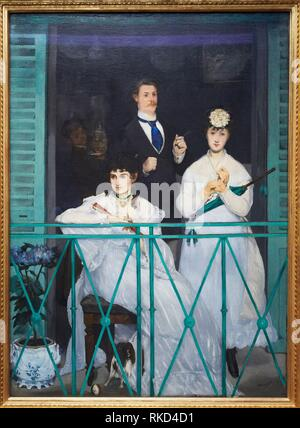 'The Balcony' 1868. Edouard Manet. 1832 - 1883. Berthe Morisot, the violinist Fanny Claus, and behind the women is the painter Antonin Guillemet. - Stock Photo