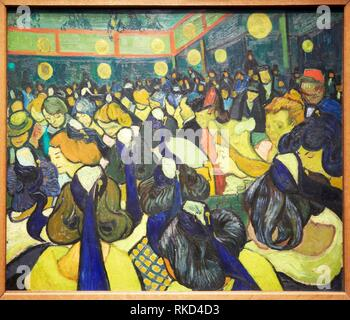 '''La salle de danse á Arles''. Vincent Van Gogh. Musée d´Orsay. Orsay Museum. Paris. France. - Stock Photo