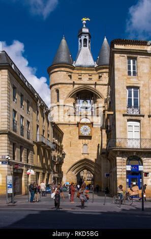 France, Nouvelle Aquitaine, Gironde, ''Grosse Cloche'' on ''Porte Saint Eloï'' gate at Bordeaux. - Stock Photo